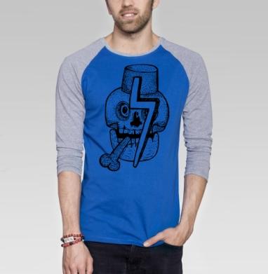 Гарри - Футболка мужская с длинным рукавом синий / серый меланж, улыбка, Популярные