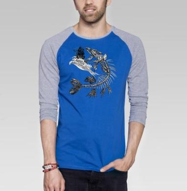 Голодная рыбка - Футболка мужская с длинным рукавом синий / серый меланж, киты, Популярные