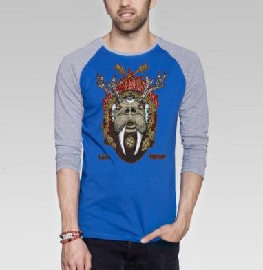 Ику-Турсо - Футболка мужская с длинным рукавом синий / серый меланж, мороженое, Популярные