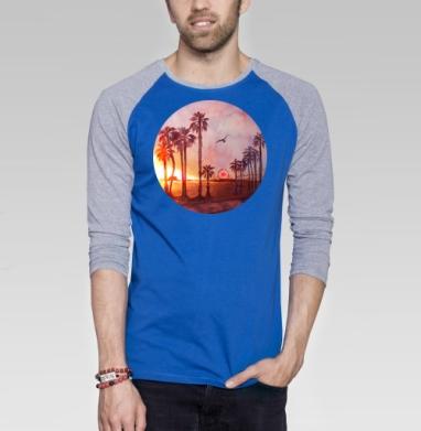 Закат в Санта Монике - Футболка мужская с длинным рукавом синий / серый меланж, лето, Популярные