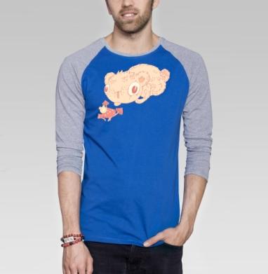 Вкусные грибочки - Футболка мужская с длинным рукавом синий / серый меланж, персонажи, Популярные