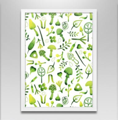 Веселые грибы - Постер в белой раме, грибы