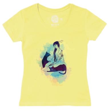 Футболка женская желтая - Ея и ее самурайские коты