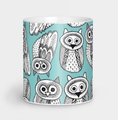 Черно-белые рисованые совы  - винтаж, Новинки
