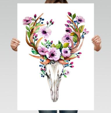 Олень акварель - Постер вертикальный, живопись