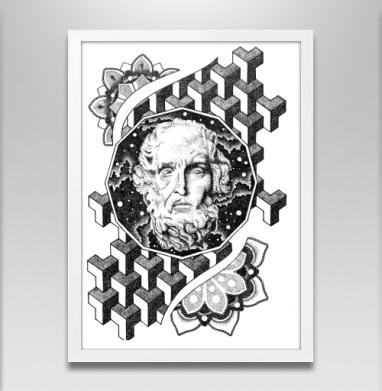 Космический мужик - Постер в белой раме, татуировки
