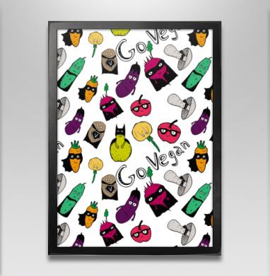 Ешь овощи будь супергероем - Постер в чёрной раме, фрукты