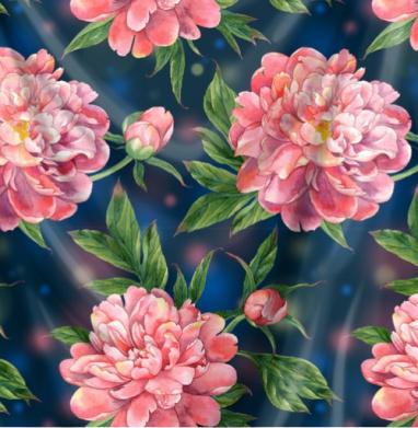 Розовые пионы на темно-синем фоне - Печать на текстиле