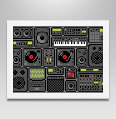 Музыка внутри - Постер в белой раме, пиксель арт