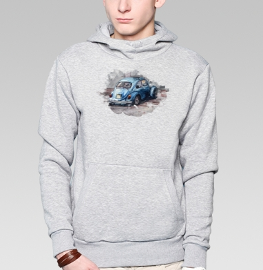 Фольксваген жук (муж.), Толстовка мужская, накладной карман серый меланж