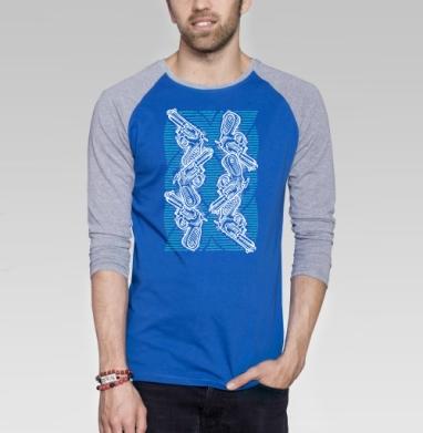 Пиу-пиу - Футболка мужская с длинным рукавом синий / серый меланж, оружие, Популярные