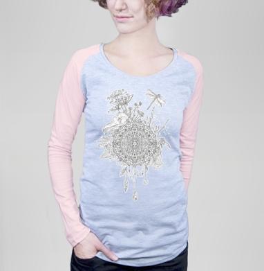 Футболка женская с длинным рукавом серый меланж/розовая, серый меланж/розовый - Футболки на заказ, майки на заказ