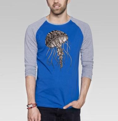 Медуза хищная - Футболка мужская с длинным рукавом синий / серый меланж, морская, Популярные