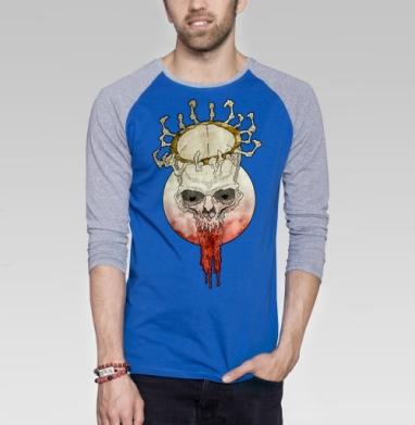 Мертвый король - Футболка мужская с длинным рукавом синий / серый меланж, голова, Популярные
