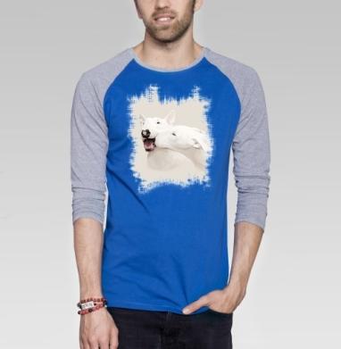 Любовь - Футболка мужская с длинным рукавом синий / серый меланж, собаки, Популярные