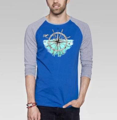 Роза Ветров - Футболка мужская с длинным рукавом синий / серый меланж, морская, Популярные