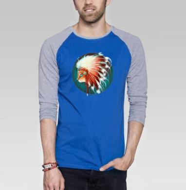 Вождь красношерстных - Футболка мужская с длинным рукавом синий / серый меланж, этно, Популярные