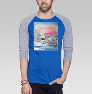 Зимний пейзаж - Футболка мужская с длинным рукавом синий / серый меланж, пейзаж, Популярные