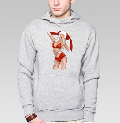 Толстовка мужская, накладной карман серый меланж - Снегурочка - дурочка