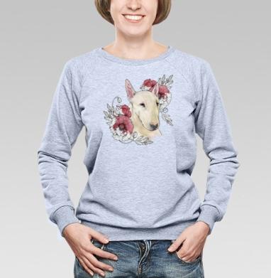 Бультерьер и маки - Купить детские свитшоты с собаками в Москве, цена детских свитшотов с собаками  с прикольными принтами - магазин дизайнерской одежды MaryJane
