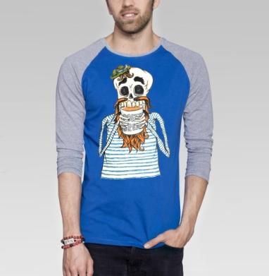 Кофе-брейк - Футболка мужская с длинным рукавом синий / серый меланж, морская, Популярные