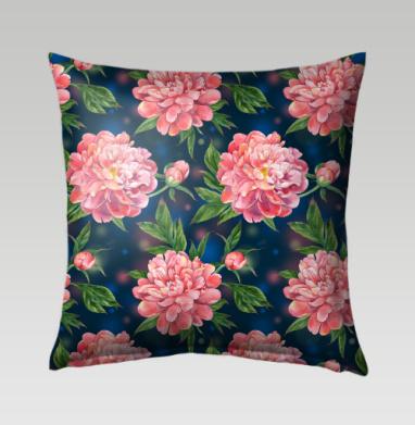 Розовые пионы на темно-синем фоне - Подушки с принтом
