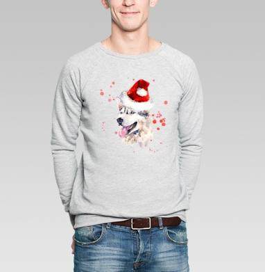 Улыбающаяся собака в новогодней шапке - Купить мужские свитшоты с акварелью в Москве, цена мужских свитшотов с акварелью  с прикольными принтами - магазин дизайнерской одежды MaryJane