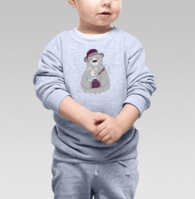 Cвитшот Детский серый меланж - Зверушки празднуют