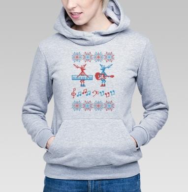 Свитер с оленями-музыкантами - Купить детские толстовки с нотами в Москве, цена детских толстовок с нотами  с прикольными принтами - магазин дизайнерской одежды MaryJane