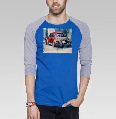 Ретро букаш - Футболка мужская с длинным рукавом синий / серый меланж, город, Популярные