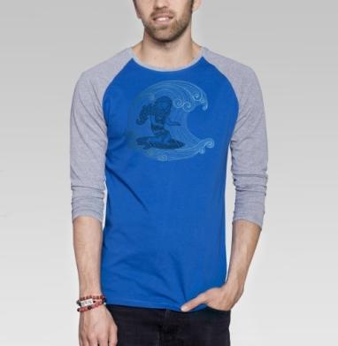 Бородатый серфер - Футболка мужская с длинным рукавом синий / серый меланж, морская, Популярные