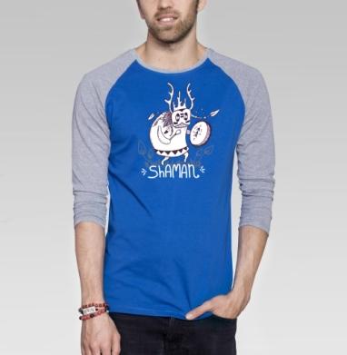 Он шаман - Футболка мужская с длинным рукавом синий / серый меланж, графика, Популярные