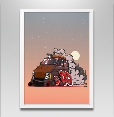 Вагон - Постер в белой раме, дым
