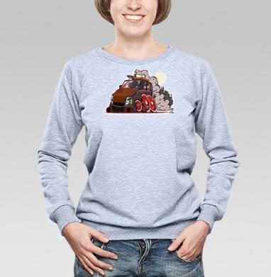 Вагон - Купить женские свитшоты с автомобилями в Москве, цена женских свитшотов с автомобилями  с прикольными принтами - магазин дизайнерской одежды MaryJane