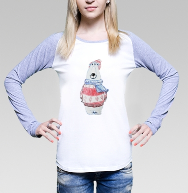 Футболка женская с длинным рукавом бело-серая - Белый мимиМишка