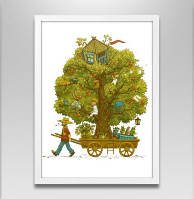 По дороге жизни - Постер в белой раме, деревья