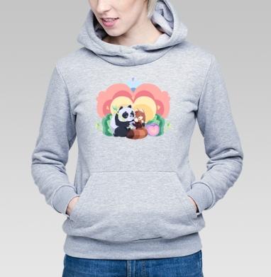 Толстовка Женская серый меланж 340гр, теплая, серый-меланж - Интернет магазин футболок №1 в Москве