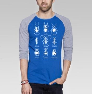 Жучары - Футболка мужская с длинным рукавом синий / серый меланж, насекомые, Популярные