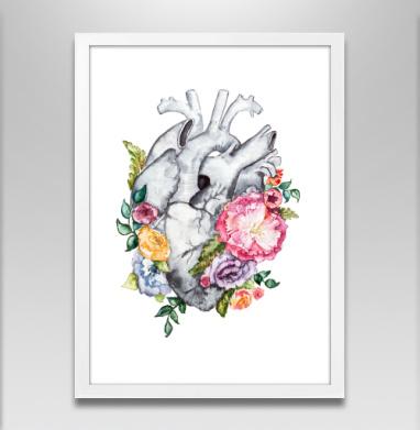 Расцветает любовь - Постер в белой раме, серый