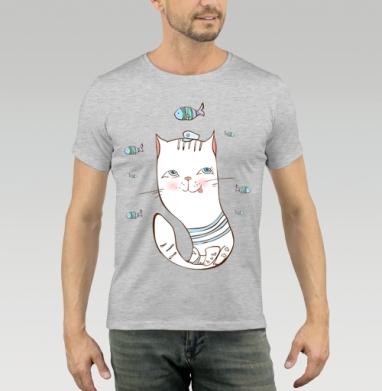 Футболка мужская серый меланж 200гр - Счастливый котик