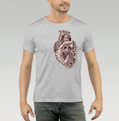 Футболка мужская серый меланж - Механическое сердце