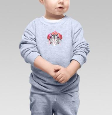 Cвитшот Детский серый меланж - Цветочный узор с портретами тигров