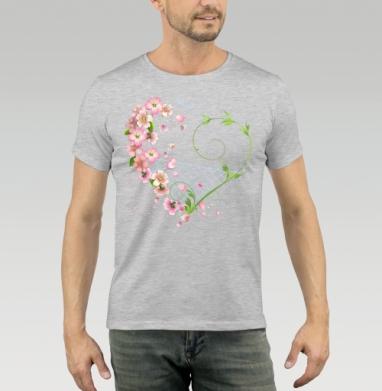 Футболка мужская серый меланж - Цветы яблони и сердце