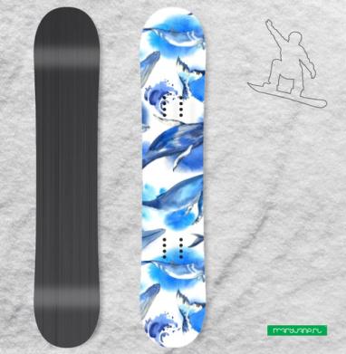 Акварельные киты - Наклейки на доски - сноуборд, скейтборд, лыжи, кайтсерфинг, вэйк, серф