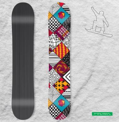 Графика. квадраты. бирюзовый акцент - Наклейки на доски - сноуборд, скейтборд, лыжи, кайтсерфинг, вэйк, серф
