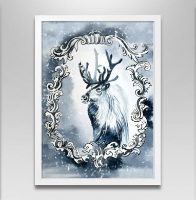 Олень из снежной королевы - Постер в белой раме, сказки