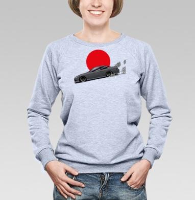 Парящий дрифт - Купить женские свитшоты с автомобилями в Москве, цена женских свитшотов с автомобилями  с прикольными принтами - магазин дизайнерской одежды MaryJane