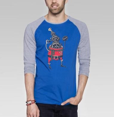 Санта - Футболка мужская с длинным рукавом синий / серый меланж, новый год, Популярные