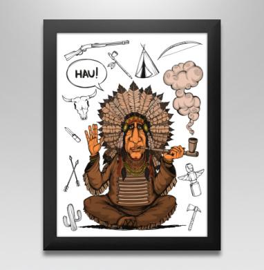 Вождь индейцев, Постер в чёрной раме