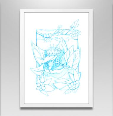 Кот в листве  - Постер в белой раме, нежность